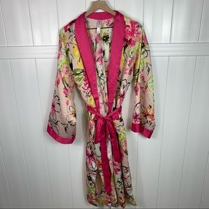 Cacique Pink Yellow Floral Satin Robe 14/16